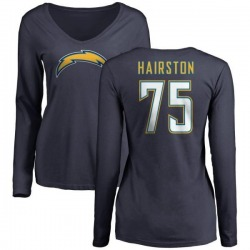 Women's Chris Hairston Los Angeles Chargers Name & Number Slim Fit V-Neck Long Sleeve T-Shirt - Navy
